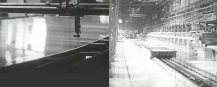 当時の板ガラス製造の様子