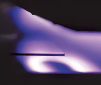 コーティング技術の一つ、スパッタリング法による成膜の様子